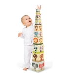 Janod Skládací pyramida Rodinka zvířat čtvercová 10 dílů