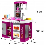 Velká dětská kuchyňka s tekoucí vodou a lednicí fialová