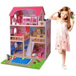 Doris dřevěný domeček pro panenky dvoupatrový s osvětlením