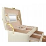 ISO šperkovnice se zrcadlem na klíč 6347 béžová