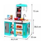 Velká dětská kuchyňka s tekoucí vodou a lednicí tyrkysová