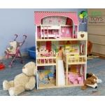 Ecotoys Dřevěný domek pro panenky malinová
