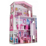 Ecotoys dřevěný dvoupatrový domeček pro panenky Miami s výtahem