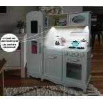 Derrson XXL Dřevěná kuchyňka bílá s příslušenstvím W5179 s LED osvětlením