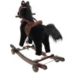 Kruzzel 9338 houpací kůň na kolečkách se zvuky černo bílý 74 cm