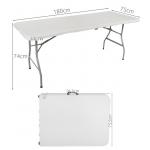 Malatec skládací stůl půlený, bílý 180cm