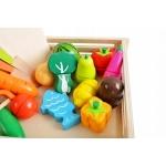 Derrson Dřevěná zelenina a ovoce v bedýnce 17 ks