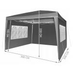 Malatec 7907 skládací zahradní altán 3 x 3 m + 4 boční stěny, šedý