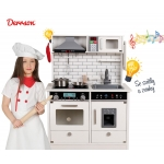Derrson XL dřevěná kuchyňka se světly a zvuky bílá W5183