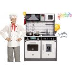 Derrson XL dřevěná kuchyňka se světly a zvuky šedá W5184