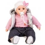 Doris Mluvící panenka s dudlíkem v šedém kožichu