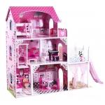 iMex Toys Dřevěný domeček se skluzavkou a osvětlením Lille