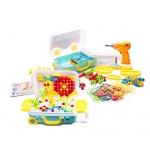 KIK Mozaika dětské puzzle plastové bloky + šroubovák 258 dílků