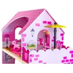 Dřevěný domeček pro panenky s bazénem a grilem s LED osvětlením