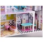Obrovský dřevěný domeček pro panenky s garáži a nábytkem s LED osvětlením