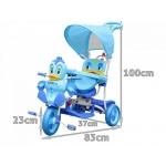 iMex Toys Tříkolka s vodící tyčí kačenka modrá
