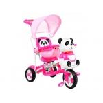 iMex Toys Tříkolka s vodící tyčí panda růžová