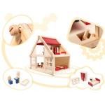 KIK 6486 Dřevěný domeček pro panenky s nábytkem 26 x 40 x 38 cm