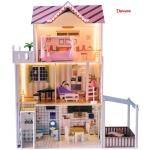 Derrson XXL dřevěný domeček pro panenky Palm Beach s LED osvětlením
