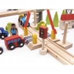 Derrson dřevěná vláčkodráha, autodráha + 70 ks
